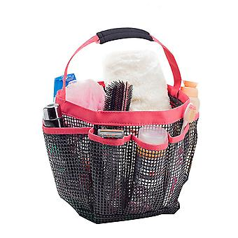 Portable Shower Caddy with 8 Mesh Storage Pockets Red