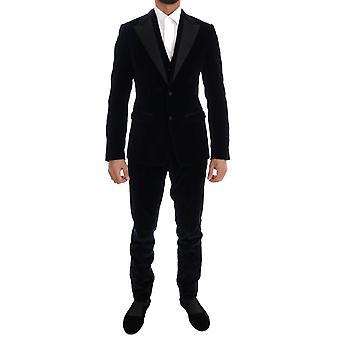 Dolce & Gabbana Mavi Kadife Streç İnce İki Düğmeli Takım KOS1128-1