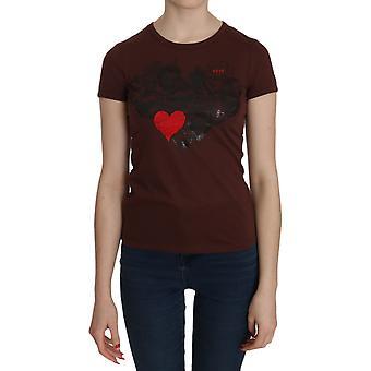 Brown Heart Print Crew Neck T-shirt Short Sleeve Blouse - TSH3593200