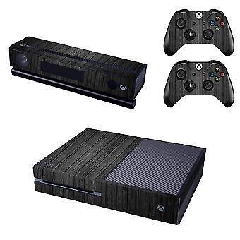 REYTID Console Skin / Sticker + 2 x Controller Decals & Kinect Wrap Compatible with Microsoft Xbox One - Full Set - Black Wood Effect