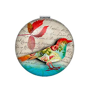 Art Picture Birds On Branch Round Makeup Mirror -magnifying Lay's Pocket Mirror
