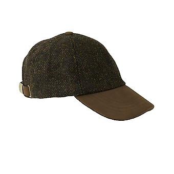 ZH016 (BROWN BARLEYCORN ONE SIZE ) Glencairn Harris Tweed Lth Pk BB Cap