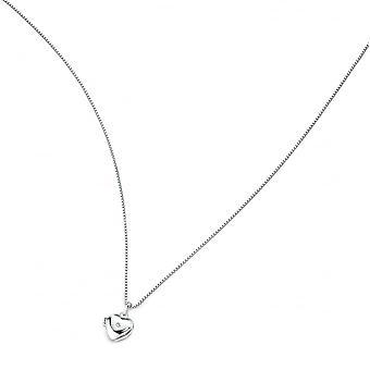 D for Diamond Silver Heart Locket