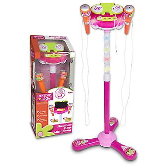Bontempi igirl showtime stage microphone pink with microphone stand for ages 3+