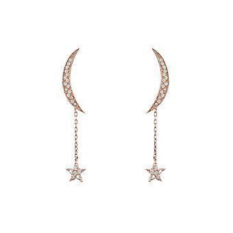 Latelita עגילי ירח כוכב פתוח אופנה 925 שטרלינג כסף עלה כוכבי זהב CZ