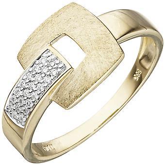 Naisten rengas 585 kulta keltainen kulta jäämatto 22 timantit loistava