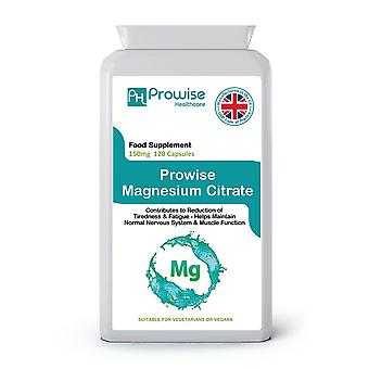 Magnesium Citrate 150mg 120 Capsules | Suitable For Vegetarians & Vegans | Made In UK