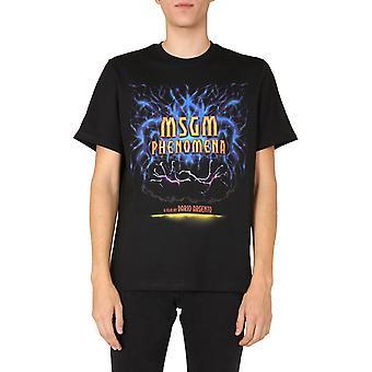 Msgm 2940mm21420759899 Mænd's Black Cotton T-shirt