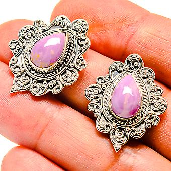 "Phosphosiderite Earrings 1 1/8"" (925 Sterling Silver)  - Handmade Boho Vintage Jewelry EARR407471"