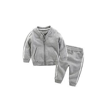 ベビーコットンロングスリーブソリッドジッパージャケット+パンツ