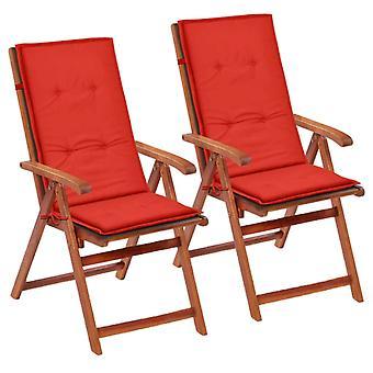 vidaXL hage stol utgave Hochlehner 2 stk. rød 120 x 50 x 3 cm