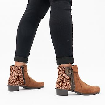 ريكر Y0752-24 السيدات الكاحل أحذية براون / الفهد