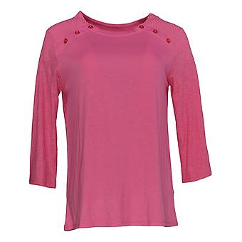 Cuddl Duds Women's Top Classic Jersey Crew Neck Pink A381599