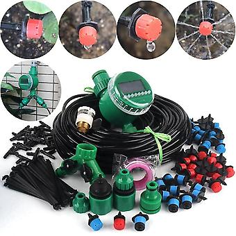 Diy Timer Control Drip Irrigation System Automatic Watering Adjustable Drippers