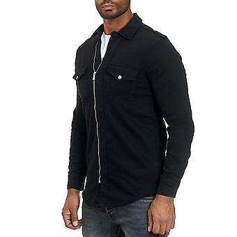 Herren's Shirt mit Reißverschluss in Jeans Look Langarm Weste Transition Jacke Casual