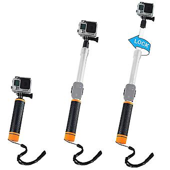 Waterproof telescopic pole and floating hand grip in 1 - for gopro hero 8 black, 7, 6, 5, black, ses