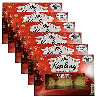 6 x 6 Mr Kipling Deep Filled Mince Pies Cakes Hot Cold Pastry Sweet Butter Sugar