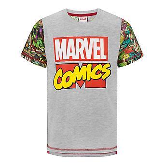 חולצת מארוול לבנים | חולצה שרוולים קצרים של חוברת קומיקס גיבורי על לילדים | גיבור איירון מן ספיידרמן האלק דמויות אפור חולצה | מארוול קומיקס מתנות