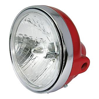 "Universal 7"" Round Headlight Red Shell Chrome Rim Diamond Eye Lens 12V 35W"