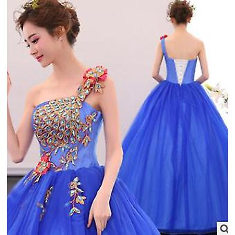 Charmante eau bleu quinceaneras robe broderie partie robes douces