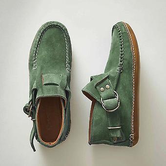 Comfy Leather Leopard Flats Buckle Strap Shoes