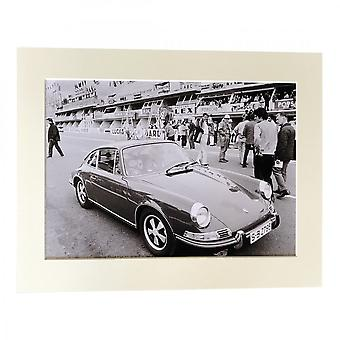 Larrini Mcqueen And His Son At Le Mans In 911 Porsche A4 Mounted Photo