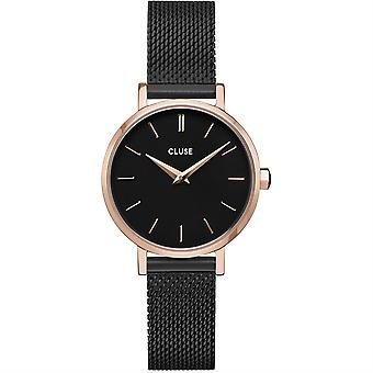 Cluse Cw0101211004 Boho Chic Petite Mesh Black And Rose Gold Ladies Watch