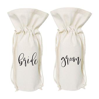 Bride Groom-cotton Canvas Wine Bag