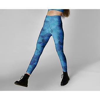 Blauwe geometrie leggings, capris en shorts