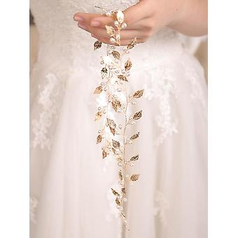 Bridal Handmade Leaf Pearls Headband Headpiece Rose Gold Hair Vine Wedding Hair