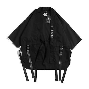 Japansk Traditionel Kimono Cardigan Sort Bomuld Fashion Stage Coat Streetwear