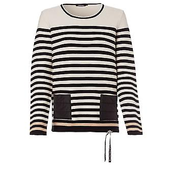 Olsen Black & Cream Striped Jumper