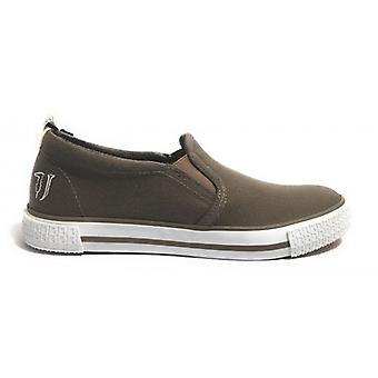 Sapatos masculinos Trussardi Jeans Escorregar em fundo de borracha de lona marrom us17tj03