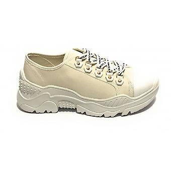 Shoes Sneaker Zeppa Gold&gold Fabric Color White Woman Ds19gg07