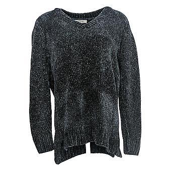 Orvis Women's Sweater Chenille Long Sleeve V Neck Blue