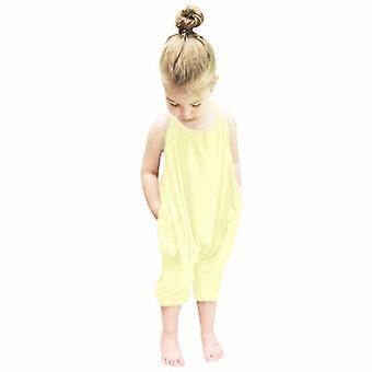 Detské popruh nohavice kombinézy jednofarebné, deti Sling Jumpsuit Nohavice Plážové oblečenie