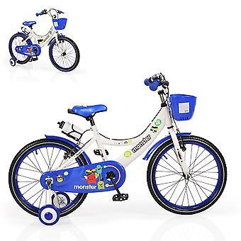 Byox barncykel 20 tum 2081 Blå stödhjul främre korg dryck hållare klocka