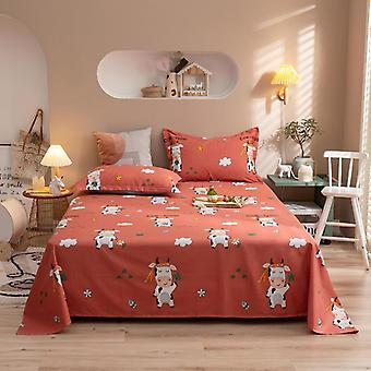 Cow Pattern Flat Sheets For Double Bed, Skin-friendly Bed Linens, Adult