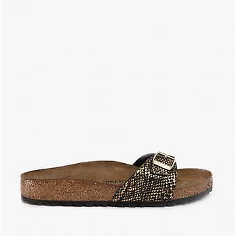 Birkenstock Madrid 1018456 (reg) Ladies One Strap Sandals Shiny Python Black
