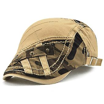 Peaked cap camouflage patch strip stitching metal buckle beret trend all-match cap