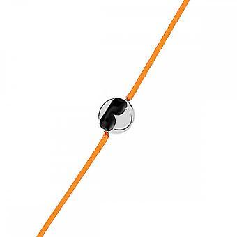 Pulsera de cordón plateado sonriente y cordón naranja 'apos;Cool';