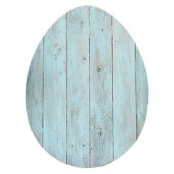 "24"" Rustic Farmhouse Turquoise Wood Large Egg"