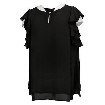 Susan Graver Women's Top Woven Ruffle Sleeves Black A353356