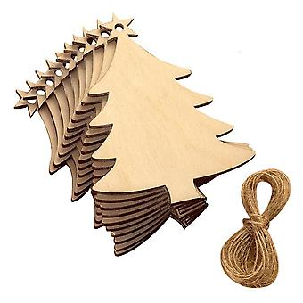 10pcs Laser Engraving Chips 3mm Wood Craifts Christmas Tree Home Decoration Small Pendant