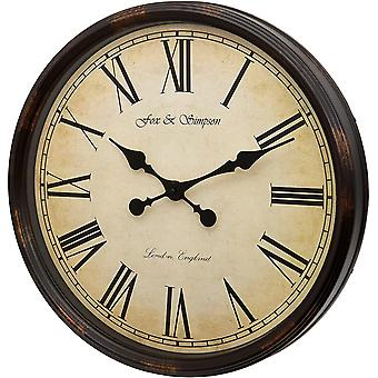 Gerui Grand Central Station Extra Large 50cm / 20-Inch Wall Clock in Cream (Black)