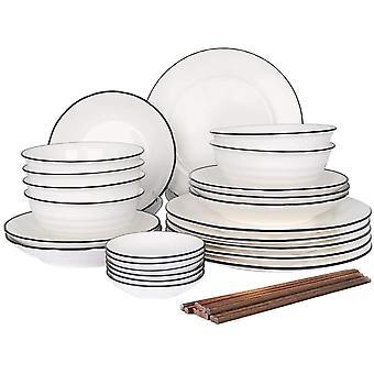 FengChun Geschirr Set aus Steingut, 30 teilig, Geschirrservice fr 6 Personen, Teller-Set aus
