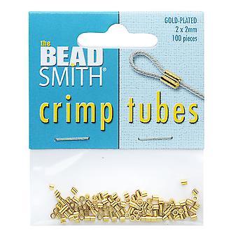 Beadsmith Crimp Beads, Putki 2x2mm, 100 Kappaletta, Kullattu