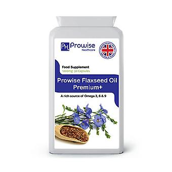 Flaxseed Oil Premium+ Omega 3 1000mg 90 Capsules | Made In UK by Prowise