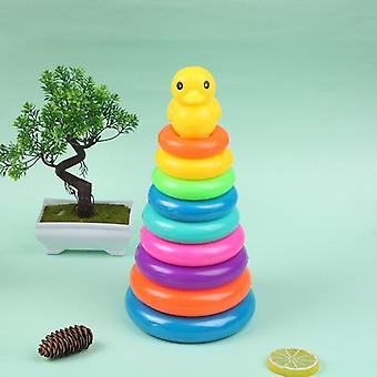 Children's Little Yellow Duck Jenga Rainbow Tower, Stacking Circle Baby Early