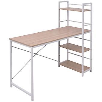 vidaXL bureau met boekenplank met 4 verdiepingen eiken